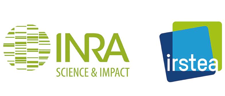 Logo de l'INRA et logo de l'IRSTEA, deux instituts qui ont fusionné en 2020 pour donner l'INRAE